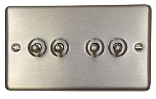 G&H CSS284 Standard Plate Brushed Steel 4 Gang 1 or 2 Way Toggle Light Switch